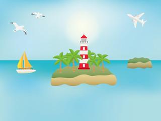 海に浮かぶ灯台の風景