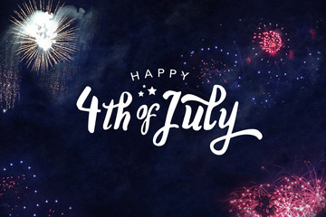 Happy 4th of July Typography with Fireworks in Night Sky