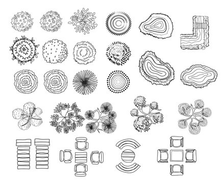 set of tree top symbols, for architectural or landscape design, for map, line art design.vector