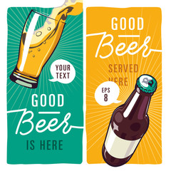 beer illustration vector with text