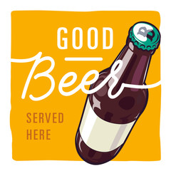 square beer illustration vector with text