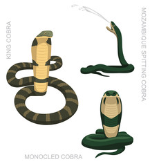 Snake Cobra Set Cartoon Vector Illustration