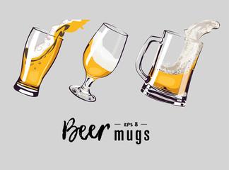 beer mugs set vector
