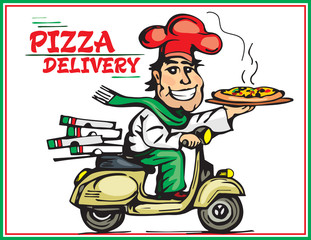 Pizza delivery. A smile motorcycle boy delivers hot pizzas.