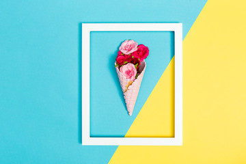Ice cream cone with roses
