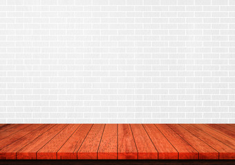 Empty brown wood table top on white brick wall background, Used for display or montage your products