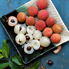 plate of fruit, lychee with juicy pulp