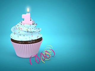 3d sweet cupcake with 1 candle over blue