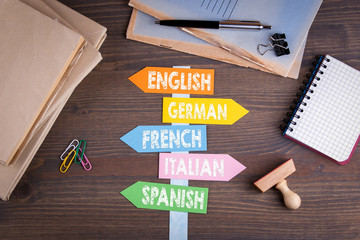 languages concept. Paper signpost on a wooden desk.