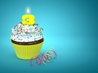 3d sweet cupcake with number 3 candle over blue