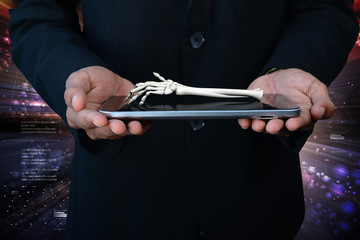 3d man showing tablet and hand born
