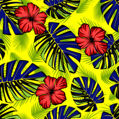 Seamless tropical pattern with green leaves and red hibiscus.