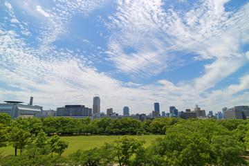 大阪城本丸から見る西の丸庭園とビル群