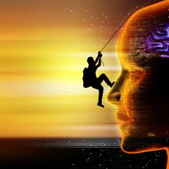 Man climbing the head