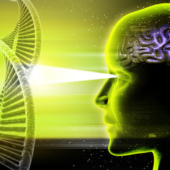 Man head and dna with cosmic energy