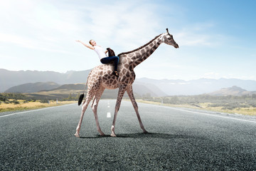 Wall Mural - Girl saddle giraffe