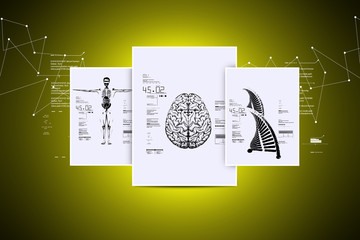 Picture of brain dna and Skelton