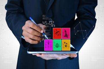 Man showing medical images in digital tablet