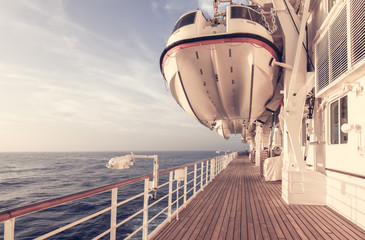 Cruise ship life boat.