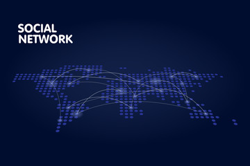 Dotted world map network technology concept vector illustration