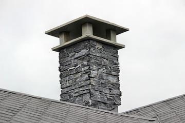 Obraz komin,kamie, natura.dach - fototapety do salonu