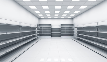Interior of the store with shelves and refrigerators. 3d image.