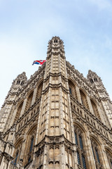 Close up of the Palace of Westminster (Houses of Parliament)