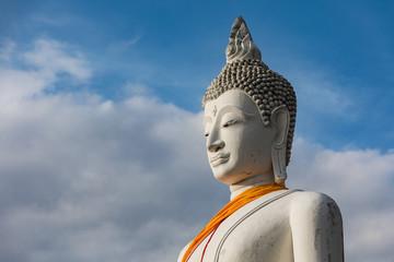 White Buddha,Wat Yai Chai Mongkhon In Ayutthaya Province Of Thailand.