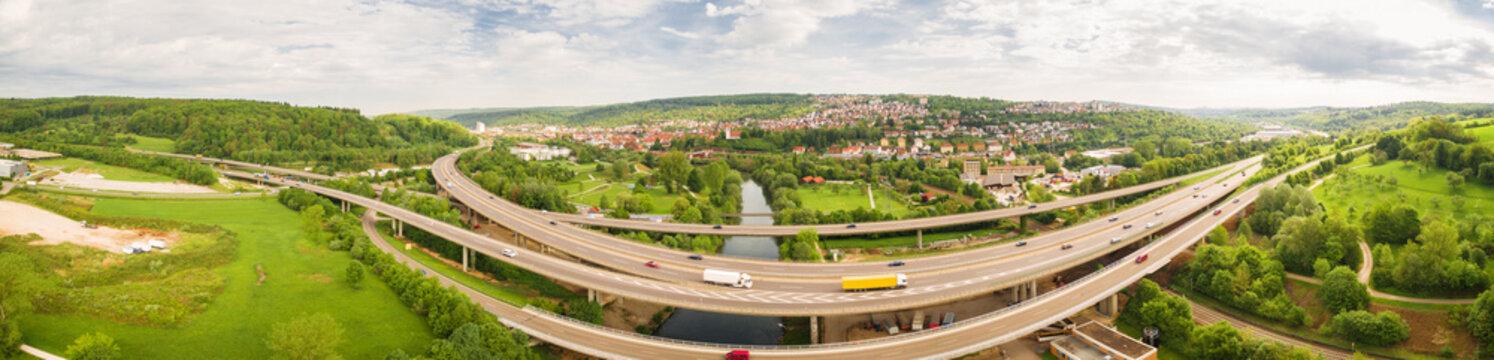 B10 und Neckar bei Plochingen, Luftaufnahme