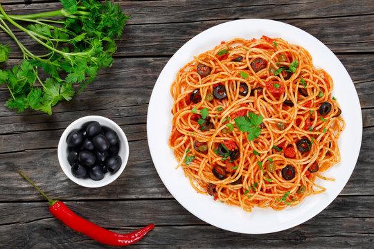 Delicious Spaghetti alla puttanesca with capers