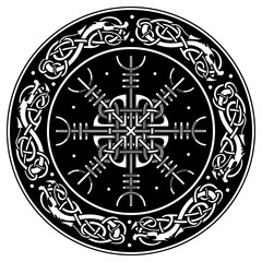 Viking shield decorated with a Scandinavian pattern of dragons and Aegishjalmur, Helm of awe helm of terror Icelandic magical staves