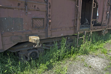 Old railway wagon in the grass