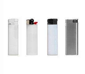 Different kinds of lighter isolated on white background.
