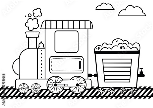 Train Coloring Page For Kids Vector Illustration