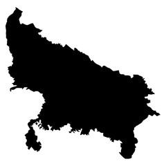 Uttar Pradesh black map on white background vector