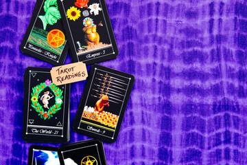 Tarot Deck - Tarot Readings on puple reading cloth