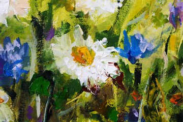 Original oil painting of flowers,beautiful field flowers on canvas. Modern Impressionism.Impasto artwork.