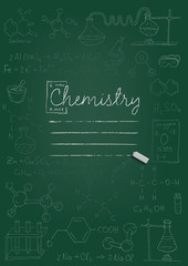 Chemistry copybook cover. Chalk drawing on green blackboard. Vector illustration.