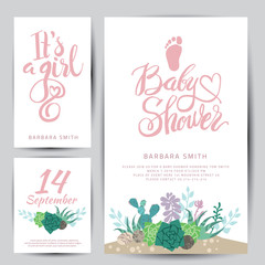 Vector baby shower sticker with succulents.