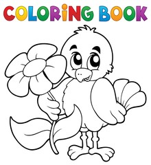 Coloring book chicken with flower