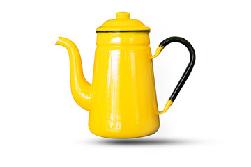 Kettles yellow isolated white background.