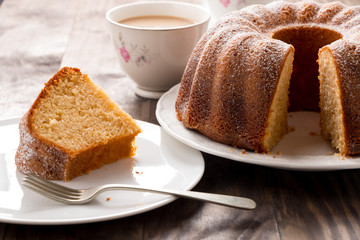 Sponge cake with coffee with milk