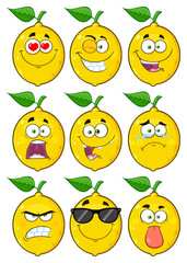 Yellow Lemon Fruit Cartoon Emoji Face Character Set 1. Collection Isolated On White Background
