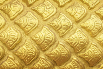 Golden Dragon scales texture background.