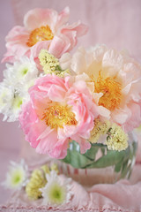 Close-up floral composition with a pink peonies.