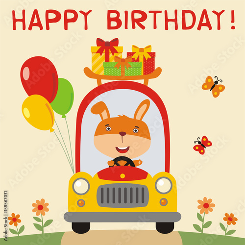 Happy Birthday Funny Rabbit Rides In Car With Gifts And Balloons Card