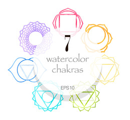 Seven watercolor shakras set