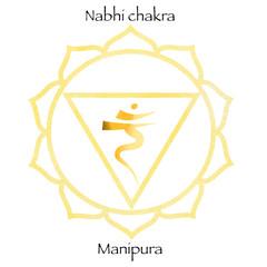 Third chakra manipura over yellow watercolor background