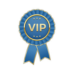 """Blue and gold """"Vip"""" award rosette with ribbon"""