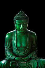 calm green emerald buddha, peacful asian buddha zen tao religion art style statue.
